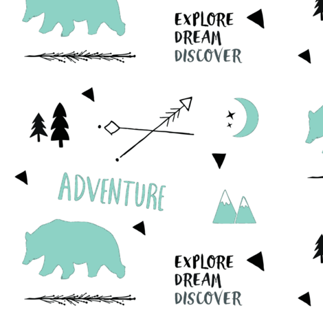 Bear Adventure MED7 -  mint and black on white fabric by drapestudio on Spoonflower - custom fabric