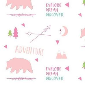 Bear Adventure MED7 -  petal mint pink