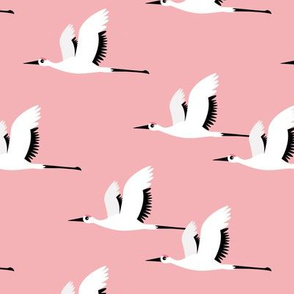 Summer is coming and so are the birds sweet Scandinavian minimal style crane bird flock girls pink