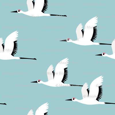 Summer is coming and so are the birds sweet Scandinavian minimal style crane bird flock boys blue