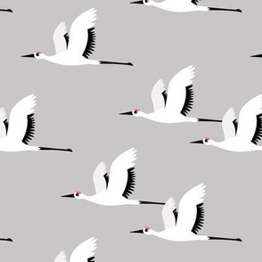 Summer is coming and so are the birds sweet Scandinavian minimal style crane bird flock gray