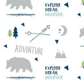 Bear Adventure MED7 -  gray mint  navy blue