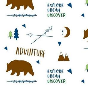 Bear Adventure MED7 - brown green  navy blue