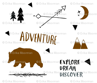 Bear Adventure SMALL 42 - brown and black on white