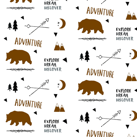Bear Adventure SMALL 42 - brown and black on white fabric by drapestudio on Spoonflower - custom fabric