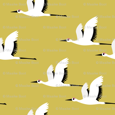 Summer is coming and so are the birds sweet Scandinavian minimal style crane bird flock mustard yellow gender neutral jumbo