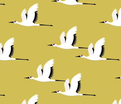 Summer is coming and so are the birds sweet Scandinavian minimal style crane bird flock mustard yellow gender neutral jumbo fabric by littlesmilemakers on Spoonflower - custom fabric