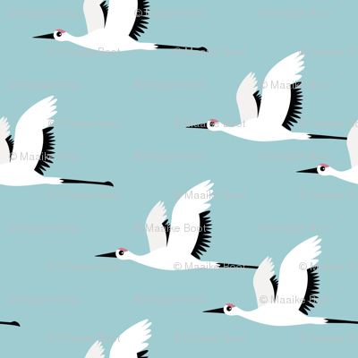 Summer is coming and so are the birds sweet Scandinavian minimal style crane bird flock boys blue jumbo