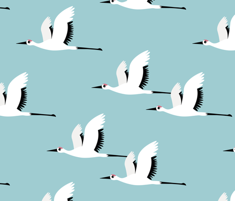 Summer is coming and so are the birds sweet Scandinavian minimal style crane bird flock boys blue jumbo fabric by littlesmilemakers on Spoonflower - custom fabric