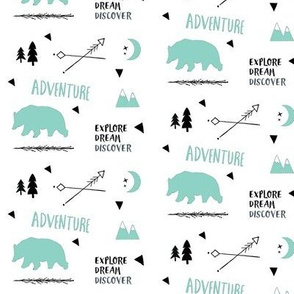 Bear Adventure SMALL42 -  mint and black on white