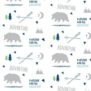 Bear Adventure SMALL42 -  gray mint  navy blue