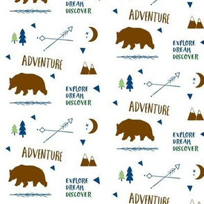 Bear Adventure SMALL 42  - brown and green  navy blue