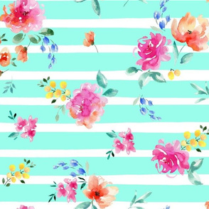 floral with stripe