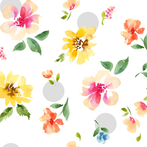 floral with dots fabric by paintedwind on Spoonflower - custom fabric