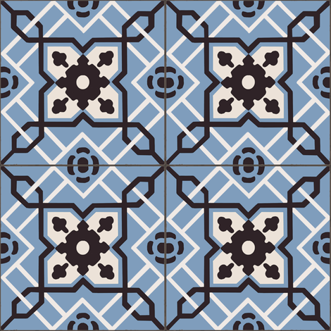 Blue Antique Tiles fabric by arts_and_herbs on Spoonflower - custom fabric