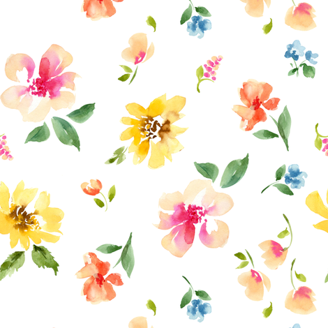 floral small no dots fabric by paintedwind on Spoonflower - custom fabric