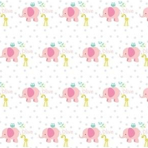 Elephant Giraffe  MINI16 pink - mint leaves gray polka dot - PERSONALIZED for Olive