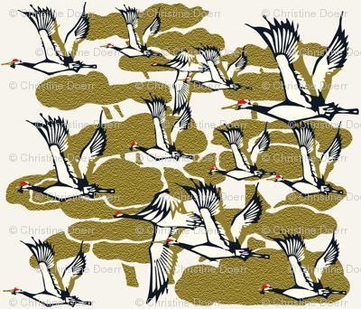 Cranes in Flight in Gold
