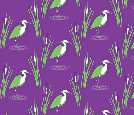Egrets and Cattails fabric by carimateo on Spoonflower - custom fabric