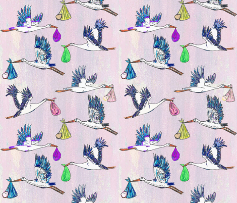 Special Delivery - Storks & Babies, Animals in the Air fabric by lisakling on Spoonflower - custom fabric