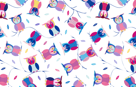 Who loves Owls? (w/leaves) fabric by cleolovescolor on Spoonflower - custom fabric