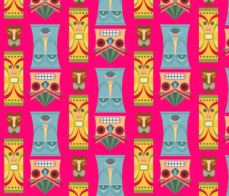 Tiki Masks fabric by thepinkhome on Spoonflower - custom fabric