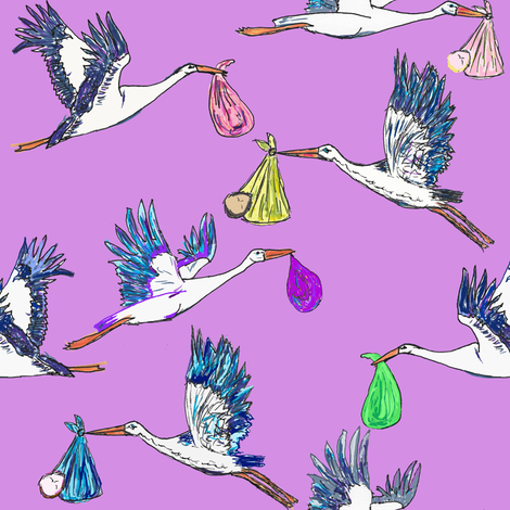 Special Delivery; Storks & Babies  fabric by lisakling on Spoonflower - custom fabric