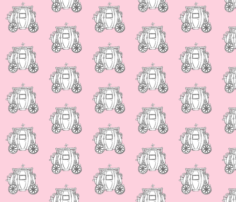 Cinderella's Coach Variation- Pink Background fabric by essieofwho on Spoonflower - custom fabric