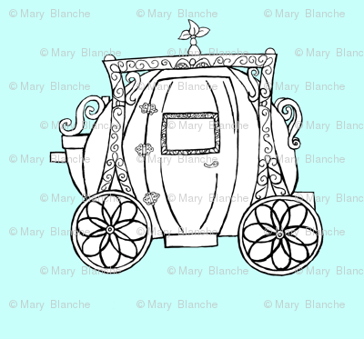 Cinderella's Coach- Turquoise Background