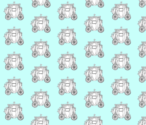 Cinderella's Coach- Turquoise Background fabric by essieofwho on Spoonflower - custom fabric