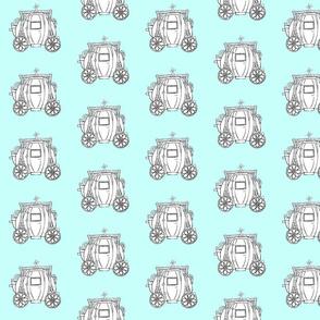 Cinderella's Coach- Turquoise Background