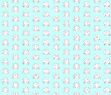 Cinderella's Coach Grey Variation- Turquoise Background fabric by essieofwho on Spoonflower - custom fabric