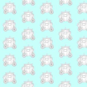 Cinderella's Coach Grey Variation- Turquoise Background