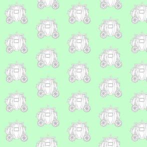 Cinderella's Coach Grey Variation- Green Background