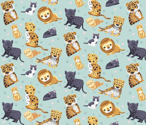 Big Little Cats fabric by tangolikeamango on Spoonflower - custom fabric