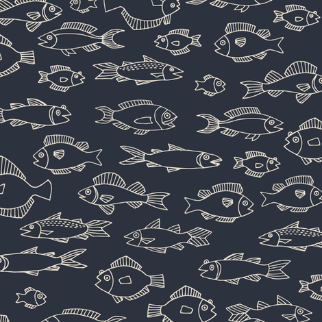Chalkboard fish - white on charcoal fabric by cecca on Spoonflower - custom fabric