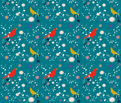 Bird  and blooms teal fabric by bruxamagica on Spoonflower - custom fabric