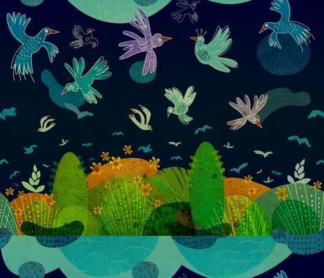 Summer_night fabric by pikku_susi on Spoonflower - custom fabric