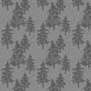 Evergreen Trees on Linen - steel