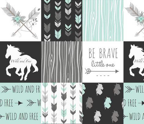 Horse Patchwork - Be Brave - Aqua, Black, Grey, White fabric by sugarpinedesign on Spoonflower - custom fabric