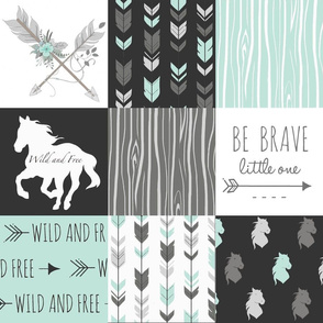 Horse Patchwork - Be Brave - Aqua, Black, Grey, White