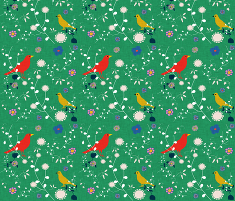 Bird  and blooms green fabric by bruxamagica on Spoonflower - custom fabric