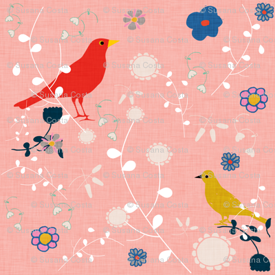 Bird  and blooms pink