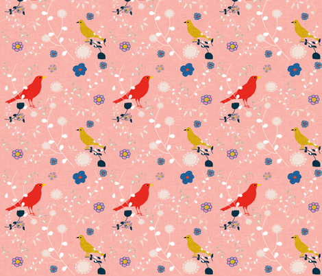 Bird  and blooms pink fabric by bruxamagica on Spoonflower - custom fabric
