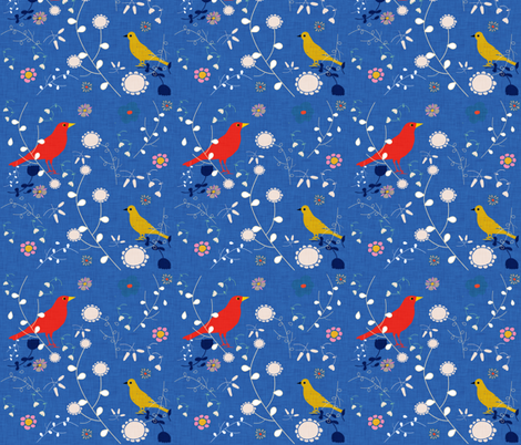 Bird  and blooms blue fabric by bruxamagica on Spoonflower - custom fabric