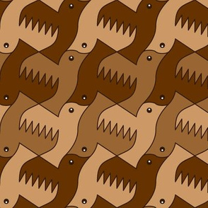 07609154 : bird 2 x 3 : brown
