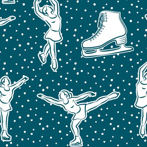 figure skating in ocean (w/ polka) fabric by littlearrowdesign on Spoonflower - custom fabric