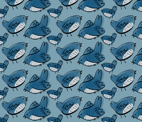 Blue birds fabric by anda on Spoonflower - custom fabric