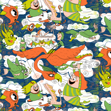 animals creatures by air with kids, large scale, orange green lime chartreuse teal blue white fabric by amy_g on Spoonflower - custom fabric