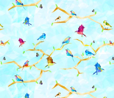 Geometric Birds fabric by little_lizzie_design on Spoonflower - custom fabric